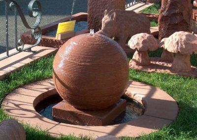 Kugelbrunnen maschinell D= 50cm mit Becken D= 80cm und Abdeckplatten Gesamt D= ca. 1,20m