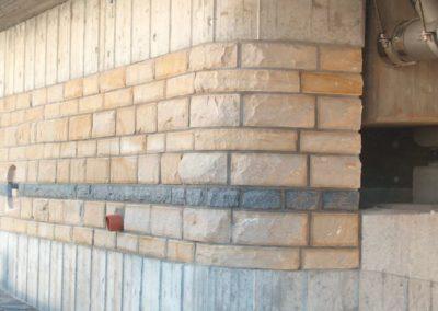 k-Verblendung bossiert Sandstein Gelb Regelmäßiges Schichtmauerwerk